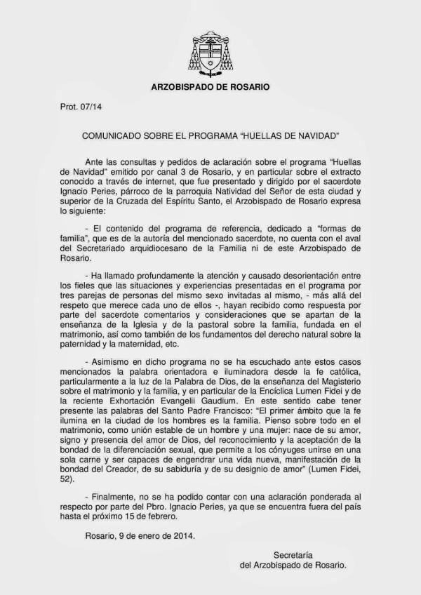 Comunicado Arquidiocesis de Rosario 09-01-2014