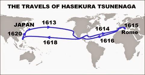 MAPA de viaje de Hasekura