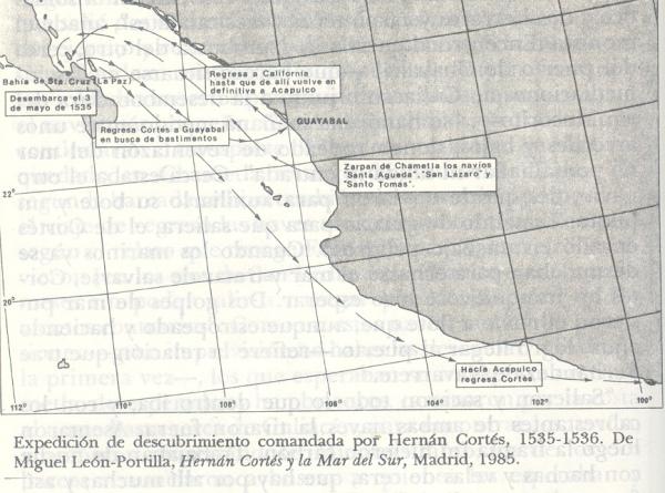 Mapa de H. Cortés en la 3a. Expedición