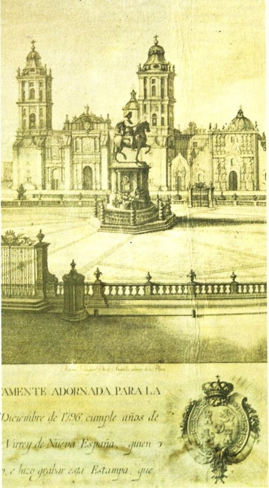Zócalo con la Estatua ecuestre de Carlos IV