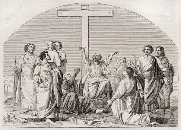 15270231-La-partida-de-los-Ap-stoles-a-predicar-el-Evangelio-Creado-por-Gleyre-publicado-el-Magasin-Pittoresq-Foto-de-archivo